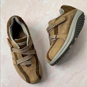 Skechers Women's Shape-Ups Brown Leather Shoes 8.5